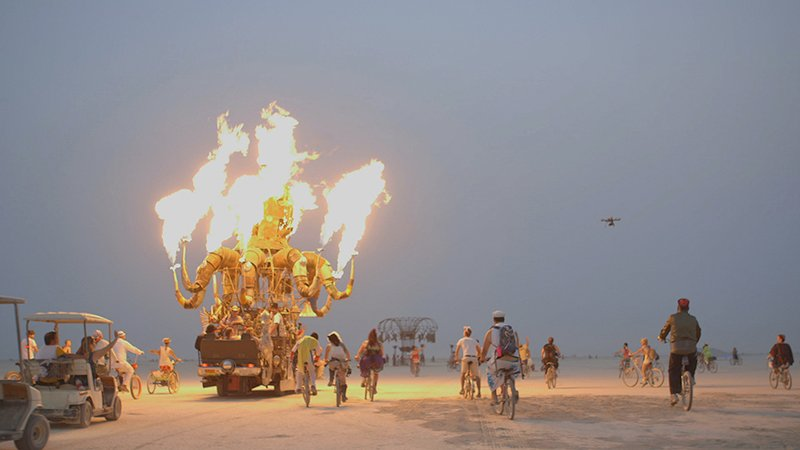 Howard Fallon and his daughter Shane arrive in the Nevada desert for Burning Man, an annual festival that provides an experiment in community art, self-expression and culminates in the ritual burning of a large wooden effigy. Photo courtesy of Harpo, Inc.
