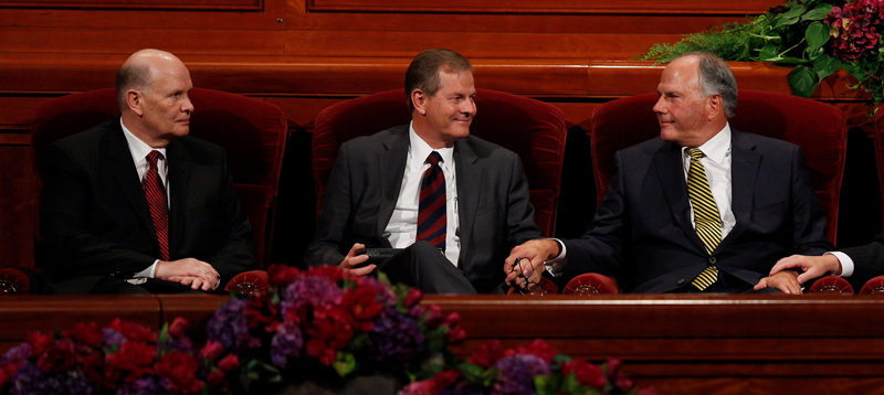 Elder Dale G. Renlund, left, and Elder Gary E. Stevenson, center, and Elder Ronald A. Rasband were named as the three newest apostles to the Quorum of the Twelve Apostles during the afternoon session of general conference, on October 3, 2015. Photo courtesy of Mormon Newsroom