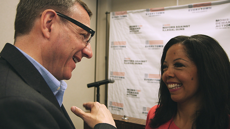 "Rob Schenck speaks with Lucy McBath in a scene from ""The Armor of Light."" Photo by Jeff Hutchens, courtesy of Fork Films"