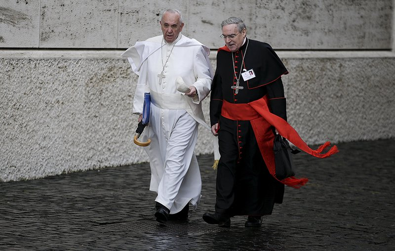 Pope Francis talks with Spanish cardinal Lluis Martinez Sistach as he arrives to lead the synod of the family at the Vatican, on October 10, 2015. Photo courtesy of REUTERS/Max Rossi *Editors: This photo may only be republished with RNS-SYNOD-CARDINALS, originally transmitted on Oct. 12, 2015.