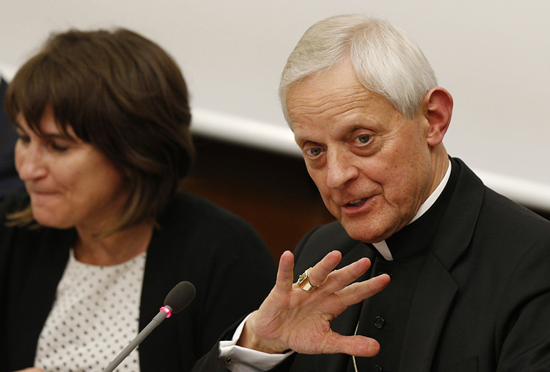 Cardinal Donald W. Wuerl of Washington speaks at a conference on climate change at the Pontifical University of the Holy Cross in Rome on May 20, 2015. Photo by Paul Haring, courtesy of Catholic News Service
