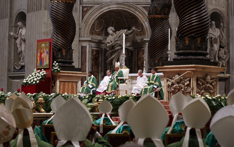 Pope Francis leads the opening mass for the synod of bishops on the family in St. Peter's Basilica at the Vatican October 4, 2015. Photo courtesy REUTERS/Alessandro Bianchi