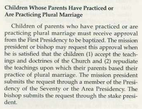 2006 LDS policy about children of polygamy