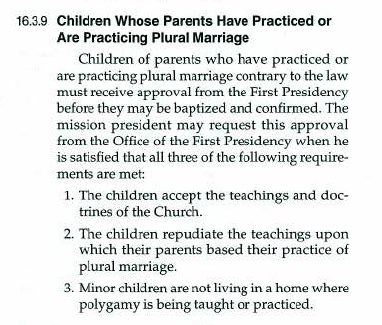2010 LDS policy about children of polygamy