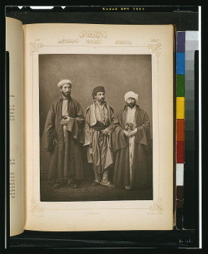 A Muslim teacher, the chief rabbi, and a local citizen from Monastir. Salonika, Ottoman Empire, nineteenth century. Photographer: Pascal Sebah (1823-1886).