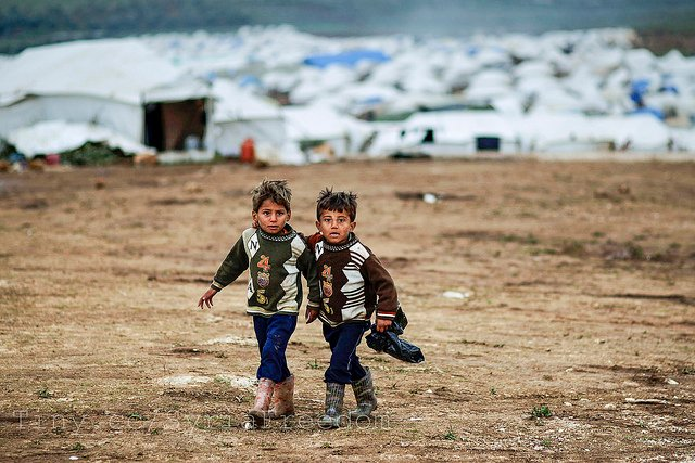 Syrian boys whose families fled their home in Idlib   Photo by Freedom House via Flickr (http://bit.ly/1MxGS1Z)