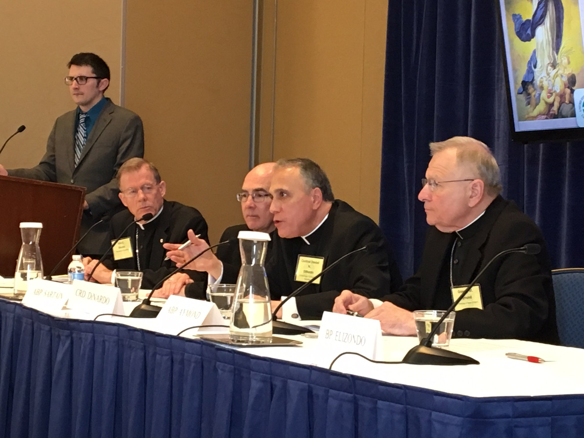 Cardinal Daniel DiNardo (second from right) speaking at a news conference during the US Catholic bishops' annual meeting in Baltimore. Photo by RNS/David Gibson.