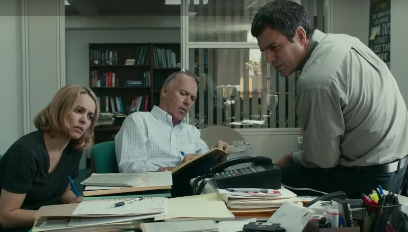 'Spotlight' features Rachel McAdams, Michael Keaton and Mark Ruffalo playing Boston Globe reporters tracking down a sex abuse scandal. Image from the Spotlight trailer.