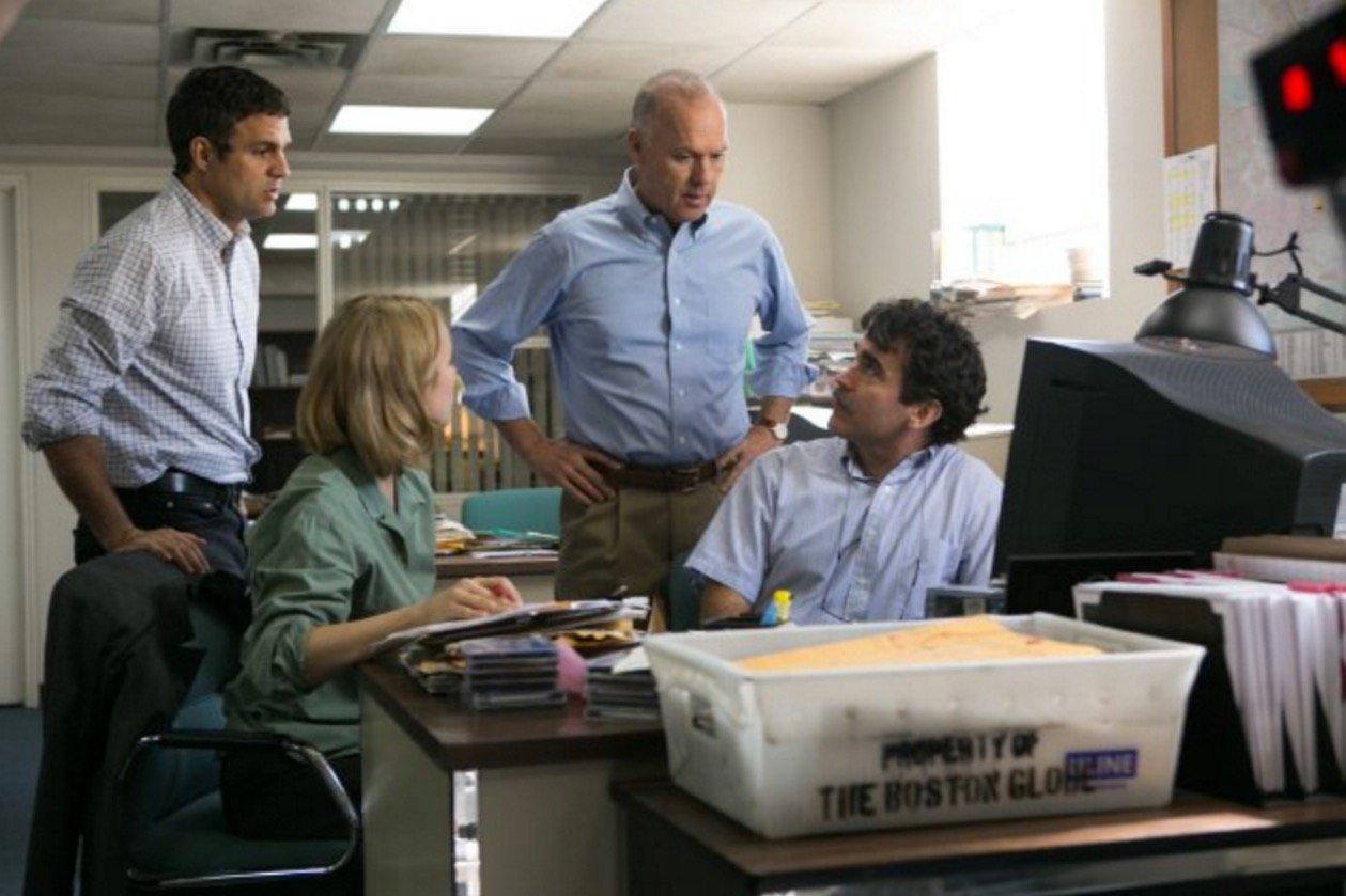 Michael Keaton, Billy Crudup, Mark Ruffalo and Rachel McAdams in 'Spotlight.' Photo by Kerry Hayes, Open Road Films.