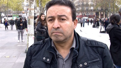 Faical Ouertani joined a crowd of mourners at the Place de la Republique in central Paris to mark a moment of silence for the victims. Photo courtesy Elizabeth Bryant