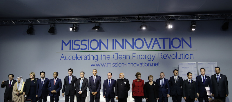 World leaders attend a meeting to launch the 'Mission Innovation: Accelerating the Clean Energy Revolution' at the World Climate Change Conference 2015 (COP21) near Paris, France, November 30, 2015. Photo courtesy REUTERS/Ian Langsdon/Pool