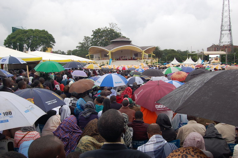 Thousands attended the Mass on the campus of the University of Nairobi under rainy skiess. RNS photo by Fredrick Nzwili