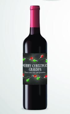 Custom Holiday Wine Bottle Labels. Photo courtesy of SweetLex