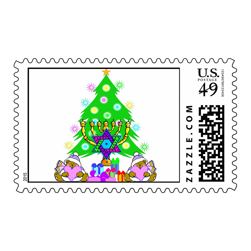 Holiday fun stamp. No need to choose between the Virgin Mary stamp and the menorah stamp; this real U.S. postage stamp has both holidays covered. ($25.35 per sheet of 20, zazzle.com) Photo courtesy of Zazzle