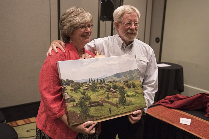 Tim and Charlotte Cearley are recognized for 35 years of service in sub-Saharan Africa during the Southern Baptist Convention's International Mission Board trustee meeting in New Orleans on Nov. 5, 2015. Photo by Thomas Graham, courtesy of IMB