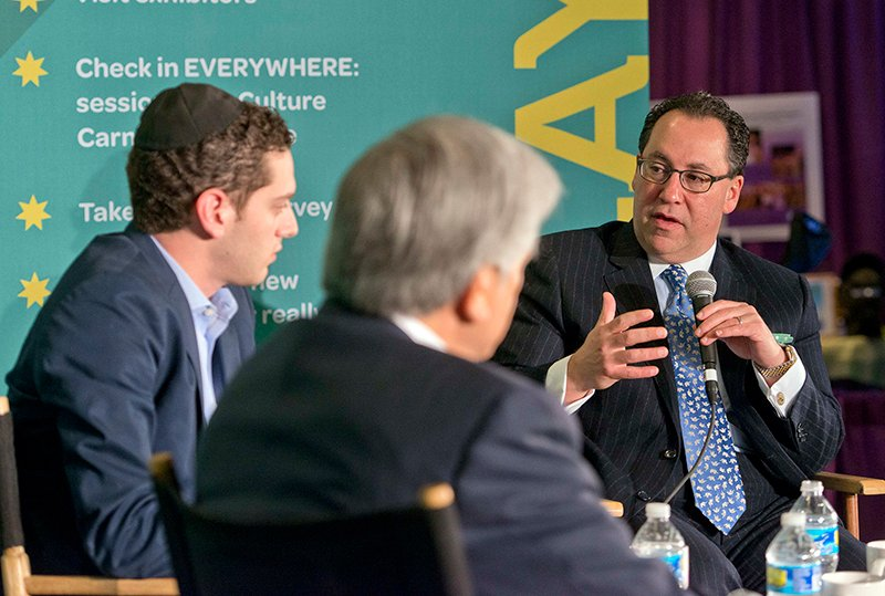 "Max Neuberger, Founder, Jewish Insider, left, moderates an appearance by Greg Rosenbaum, Board Chair, National Jewish Democratic Council and President, Palisades Associates, Inc, center; and Matt Brooks, Executive Director, Republican Jewish Coalition, right, on ""Inside the 2016 Election: Whither Go the Jews?"" at the 2015 Jewish Federations of North America General Assembly at the Washington Hilton Hotel in Washington, D.C., on November 10, 2015. Photo by Ron Sachs, courtesy of 2015 Jewish Federations of North America General Assembly"