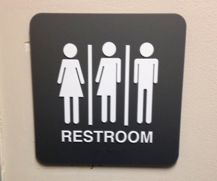 A sign on a restroom door at Salisbury University in Maryland. Photo courtesy of Marshall Childs