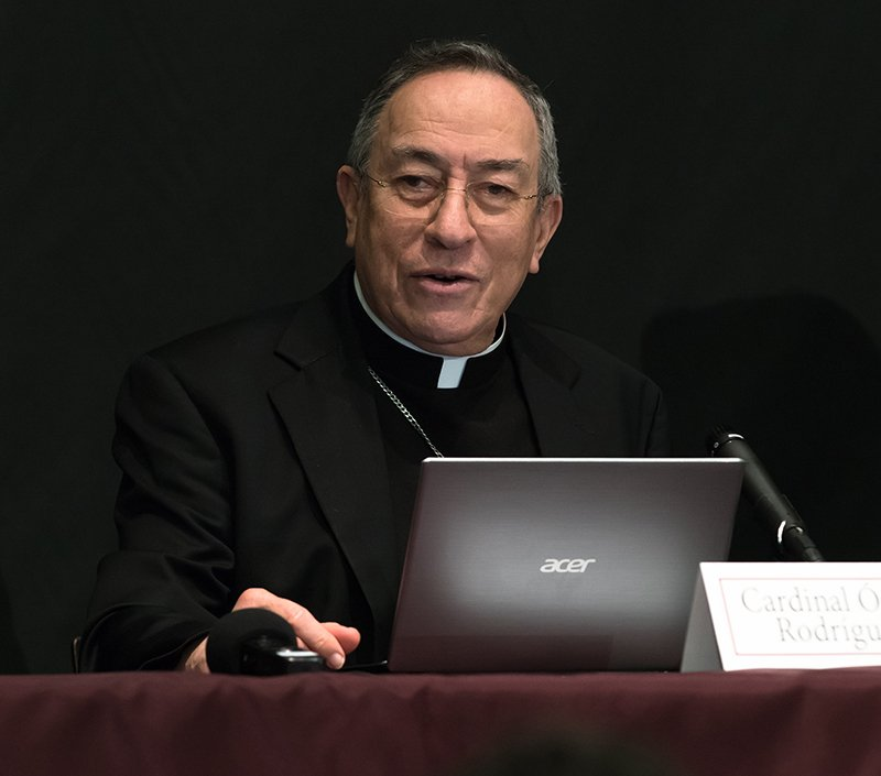 Honduran Cardinal Oscar Rodriguez Maradiaga speaks during a press conference on Nov. 3, 2015, after a conference at Fordham University on Francis' environmental agenda. Photo courtesy of Leo Sorel/Fordham University