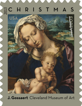 A Christmas stamp design from 2013 that will be offered at the US Postal Service this year. Photo courtesy of USPS