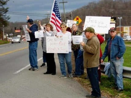 Parents protest outside Johnson Country, Ky. school district offices. Photo by Sarah Hill, Paintsville Herald