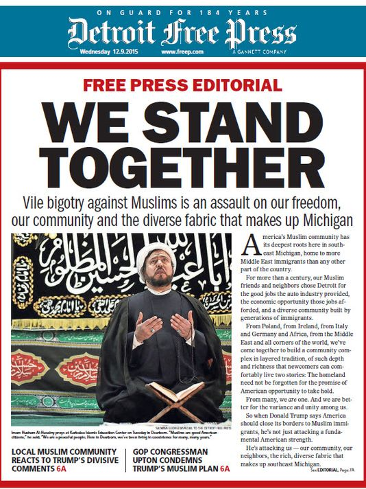 """""""We Stand Together,"""" appeared on the cover of the Detroit Free Press on Dec. 9, 2015."""