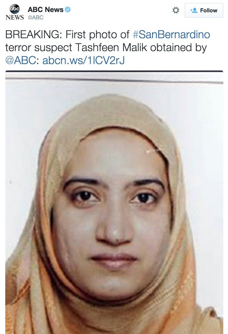 San Bernardino terror suspect Tashfeen Malik, in a photo obtained by ABC News.