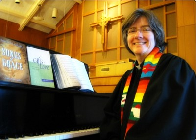 Carolyn Winfrey Gillette in the sanctuary of Limestone Presbyterian Church in Wilmington, Delaware in 2010. Photo courtesy of Bruce Gillette
