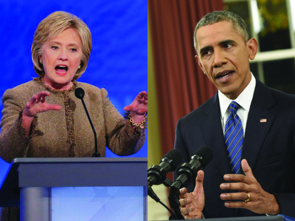 (Left) Democratic U.S. presidential candidate and former Secretary of State Hillary Clinton (REUTERS/Brian Snyder) and U.S. President Barack Obama (REUTERS/Saul Loeb/Pool ) top the 2015 Most Admired list.