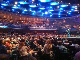 Evangelicals worshippig at Gateway megachurch