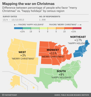 "Where to say ""Merry Christmas"" and ""Happy Holidays."" Source: Public Religion Research Institute"