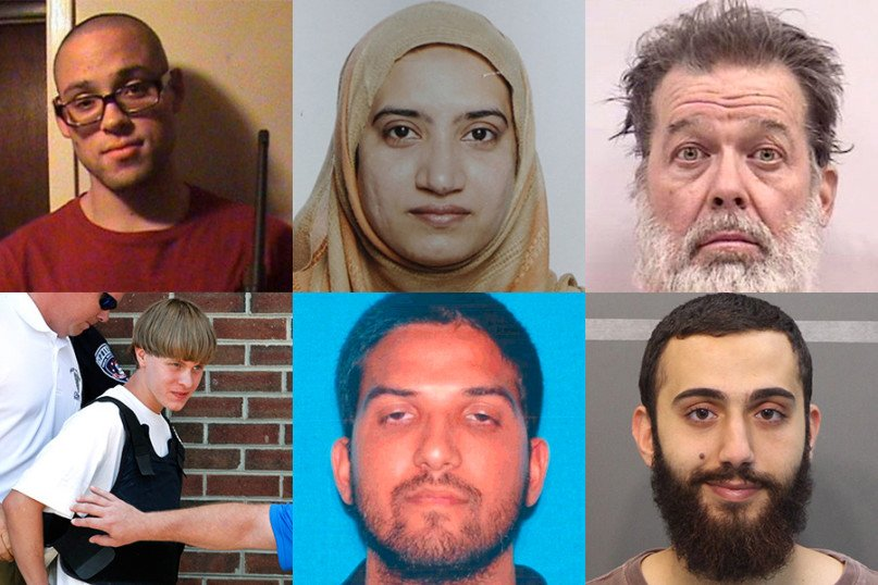 Left to right, top: Christopher Sean Harper-Mercer, who shot and killed eight fellow students and a teacher at Umpqua Community College (photo courtesy of CBS); Tashfeen Malik, who with her husband killed 14 people at the Inland Regional Center in San Bernardino, Calif. (photo courtesy of Reuters); and Robert Lewis Dear, accused of killing three people in the Planned Parenthood shooting in Colorado (photo courtesy of Reuters); left to right, bottom: Dylann Roof, accused of killing nine people at a Bible study meeting in a historic African-American church in Charleston, S.C.; Syed Rizwan Farook, who with his wife killed 14 in San Bernardino (photo courtesy of Reuters); and Muhammad Youssef Abdulazeez, who opened fire at two military offices in Chattanooga, Tenn., killing four Marines (photo courtesy of Reuters)