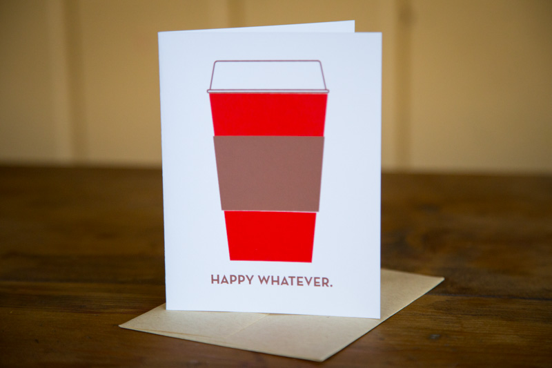 """""""Happy Whatever"""" card made by Normal Human, based in Kansas City, Mo. Religion News Service photo by Sally Morrow"""