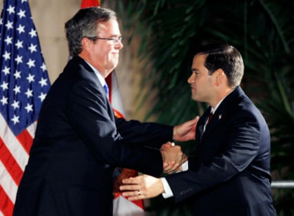 Florida Sen. Marco Rubio (R) shook hands former Florida Gov. Jeb Bush in 2010. Now, they're rivals for the 2016 GOP presidential nomination. Photo by Hans Deryk courtesy of Reuters.