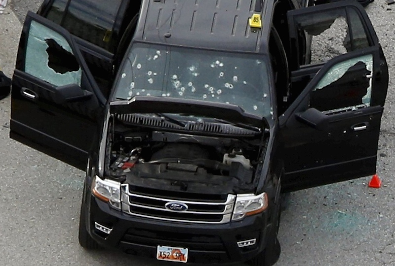 California officials says Tashfeen Malik and her husband, Syed Rizwan Farook, killed 14 people in San Bernardino then died in this rented SUV when they attempted to flee police. Photo by Mario Anzuoni courtesy of Reuters