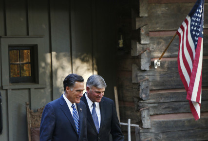 Republican presidential nominee Mitt Romney leaves the home of Reverend Billy Graham (not pictured) with Graham's son Franklin, right, in Montreat, North Carolina on October 11, 2012. Photo courtesy of REUTERS/Shannon Stapleton *Editors: This photo may only be republished with RNS-GRAHAM-REPUBLICAN, originally transmitted on Dec. 22, 2015.