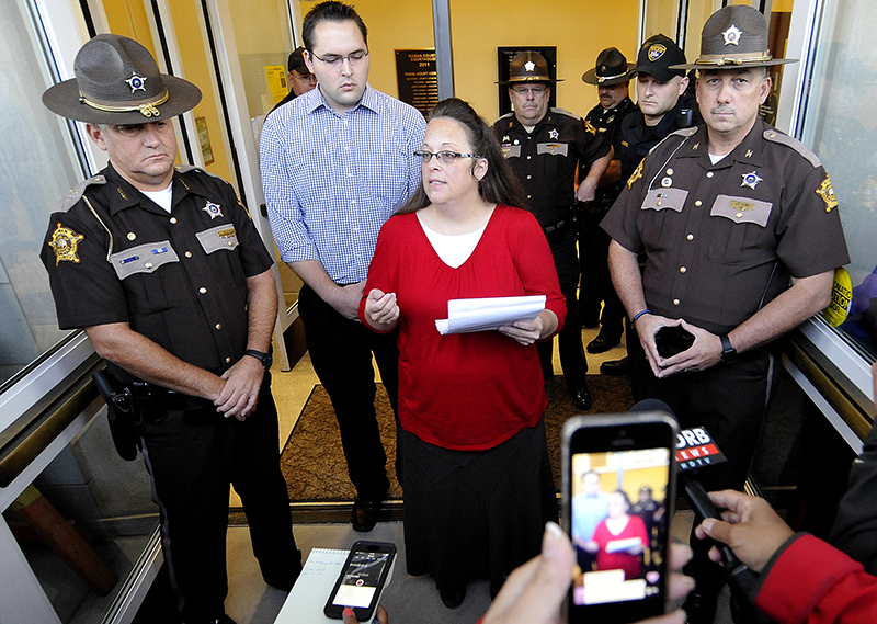 Kim Davis addresses the media just before the doors are opened to the Rowan County Clerk's Office in Morehead, Kentucky, on September 14, 2015. Photo courtesy of REUTERS/Chris Tilley