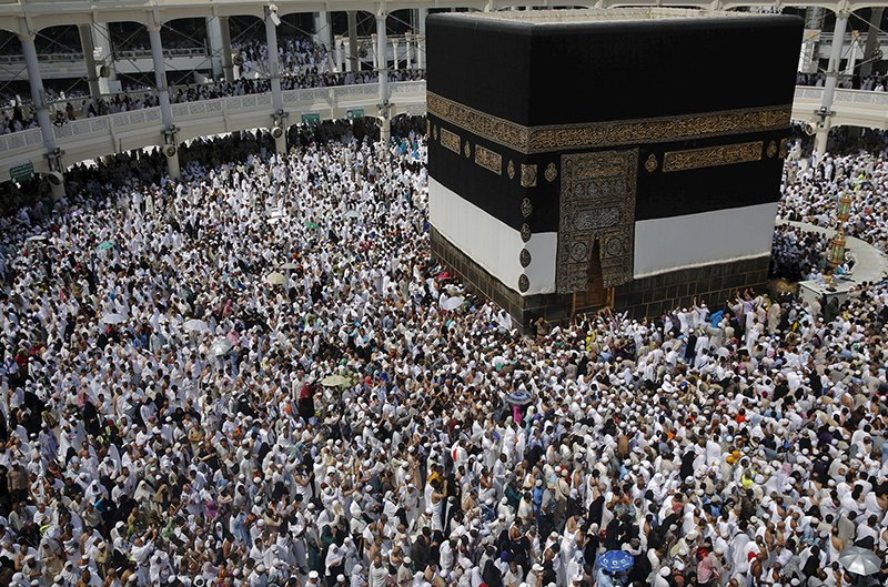 Muslim pilgrims pray around the holy Kaaba at the Grand Mosque ahead of the annual haj pilgrimage in Mecca on September 21, 2015. Photo courtesy of REUTERS/Ahmad Masood *Editors: This photo may only be republished with RNS-RUMI-COLUMN, origianlly transmitted on Dec. 16, 2015.