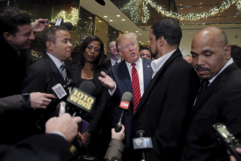 Presidential candidate Donald Trump speaks to the media after meeting with a group of black pastors at his office in the Manhattan borough of New York on November 30, 2015. Photo courtesy of REUTERS/Lucas Jackson Editors: This photo may only be republished with RNS-TRUMP-PASTORS, originally transmitted on Dec. 1, 2015.