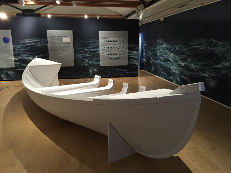 """The Nantucket Whaling Museum displays a model whaleboat like the ones the 20 men from the whale ship Essex drifted in for 96 days. Their story is the inspiration for the new movie """"In the Heart of the Sea."""" Religion News Service photo by Kimberly Winston"""