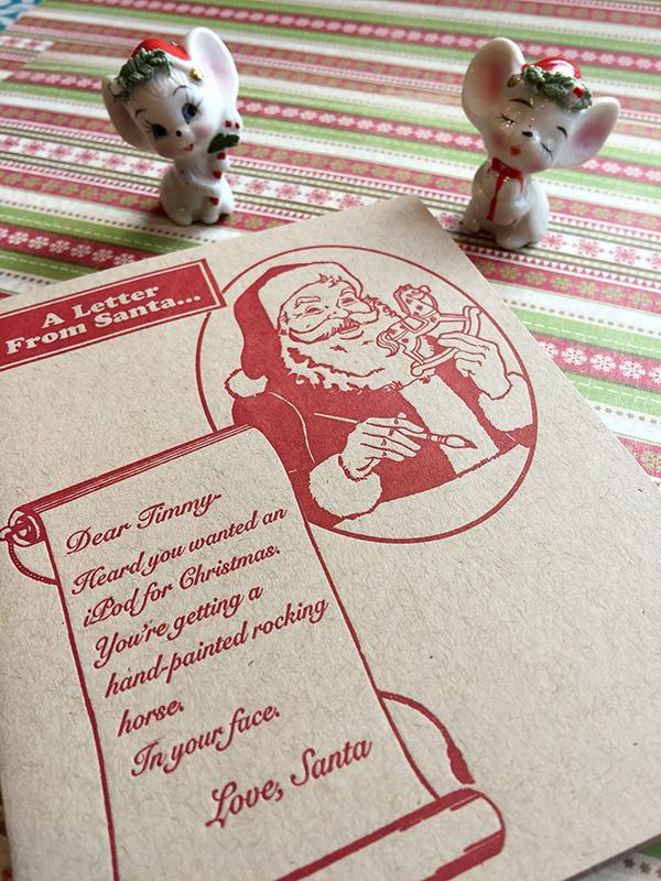 """Dear Timmy"" anti-holiday card. Religion News Service photo by Kimberly Winston."