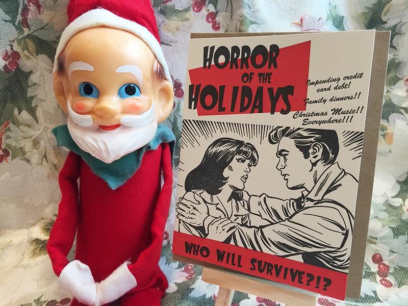 """Horror of the Holidays"" anti-Christmas card. Religion News Service photo by Kimberly Winston"