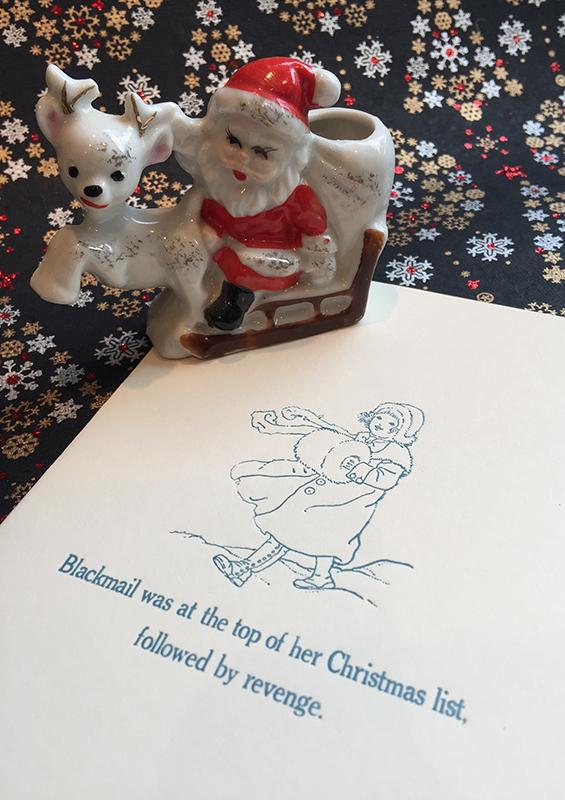 """Revenge"" anti-Christmas card. Religion News Service photo by Kimberly Winston."