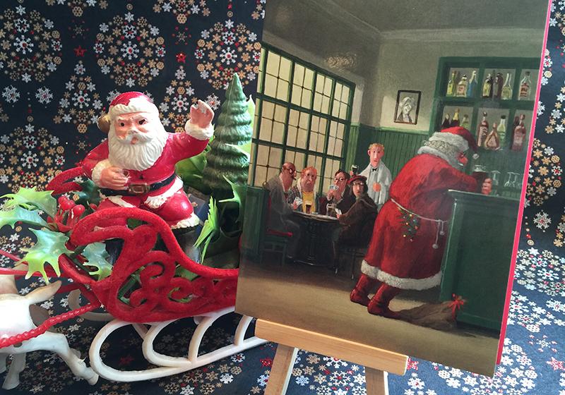 """""""Drinking Santa"""" anti-holiday card. Religion News Service photo by Kimberly Winston."""