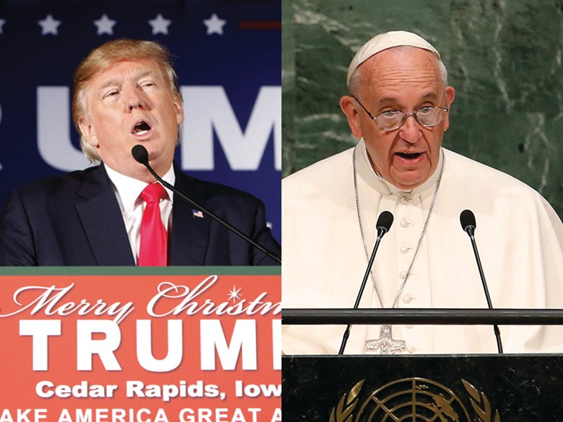 (Left) U.S. Republican presidential candidate Donald Trump speaks at a campaign event at the Veterans Memorial Building in Cedar Rapids, Iowa, on December 19, 2015. Photo courtesy of REUTERS/Scott Morgan (Right) Pope Francis addresses a plenary meeting of the United Nations Sustainable Development Summit 2015 at United Nations headquarters in Manhattan, New York, on September 25, 2015. Photo courtesy of REUTERS/Mike Segar
