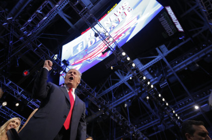 Republican 2016 U.S. presidential candidate and businessman Donald Trump, shown at the end of the first GOP debate, will be center stage again Dec. 15 for the final debate of 2015. Photo by Brian Snyder courtesy of Reuters