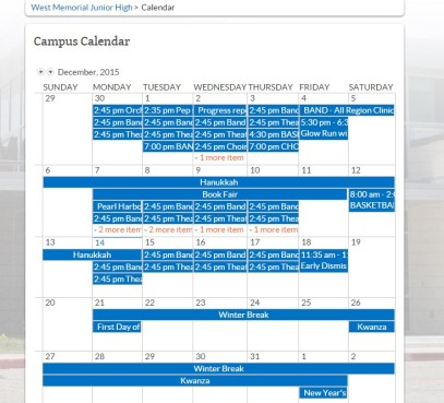 West Memorial Junior High school calendar. Screen capture from Covering Katy.