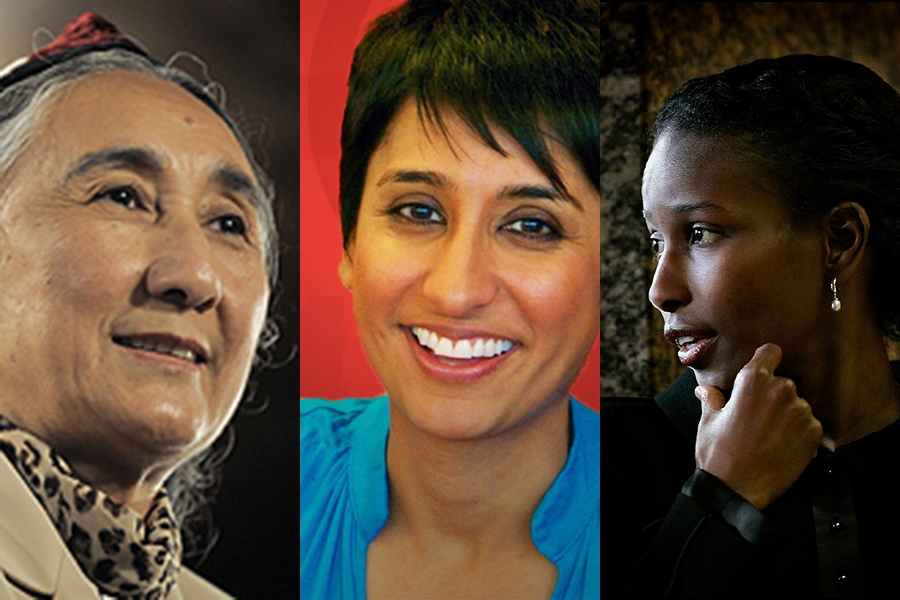 Left to right,  2015 Lantos Human Rights Prize Recipients Rebiya Kadeer,  Irshad Manji, and Ayaan Hirsi Ali. Photos courtesy of The Lantos Foundation for Human Rights and Justice