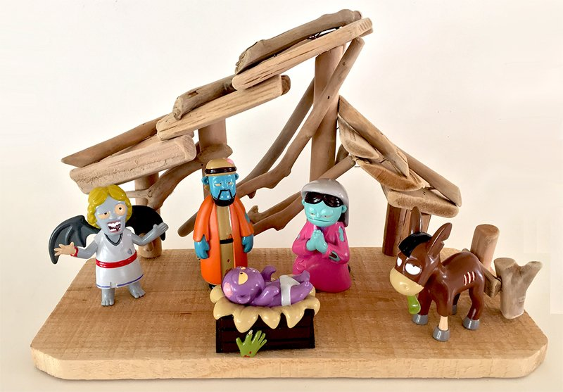 """Welcome to """"Zombie Nativity,"""" a new Christmas decoration/collectible/toy featuring a holy family, an angel, a shepherd and a donkey who are undead, partially decomposing and looking for their favorite meal -- the grey matter inside your head. Photo courtesy of Zombie Nativity"""