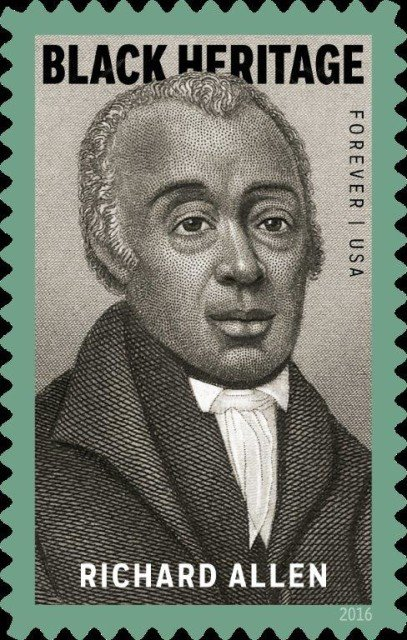 """Richard Allen stamp courtesy of The Library Company of Philadelphia  The 39th stamp in the Black Heritage series commemorates preacher, activist, and civic leader Richard Allen (1760–1831), an inspiring figure whose life and work resonate profoundly in American history. This stamp coincides with the 200th anniversary of Allen's founding of the African Methodist Episcopal (AME) Church, one of the most important institutions in African-American life, and his election and consecration as its first bishop. The stamp art is a portrait of Allen, a detail from an 1876 print titled """"Bishops of the A.M.E. Church"""" from the collection of the Library Company of Philadelphia."""
