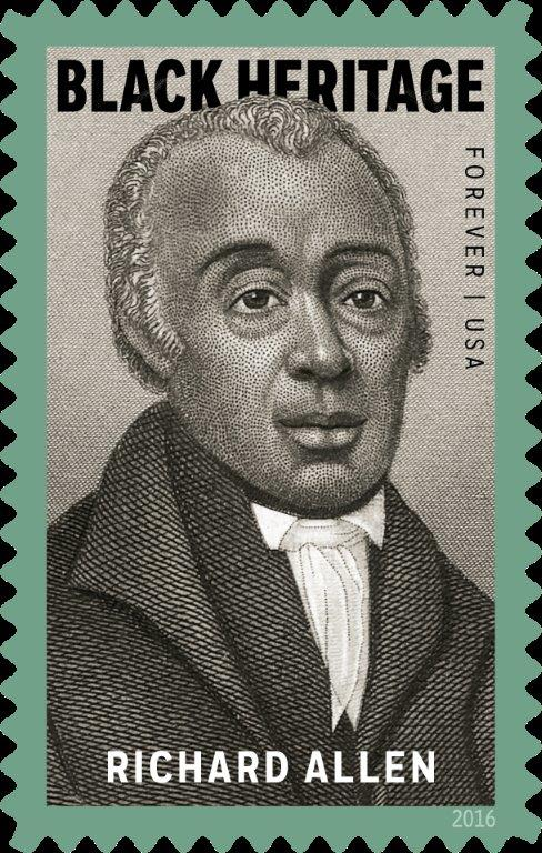 "Richard Allen stamp courtesy of The Library Company of Philadelphia The 39th stamp in the Black Heritage series commemorates preacher, activist, and civic leader Richard Allen (1760–1831), an inspiring figure whose life and work resonate profoundly in American history. This stamp coincides with the 200th anniversary of Allen's founding of the African Methodist Episcopal (AME) Church, one of the most important institutions in African-American life, and his election and consecration as its first bishop. The stamp art is a portrait of Allen, a detail from an 1876 print titled ""Bishops of the A.M.E. Church"" from the collection of the Library Company of Philadelphia."